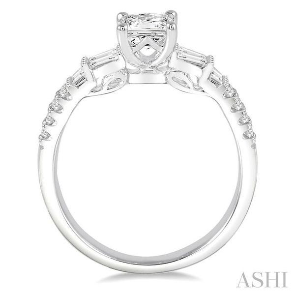 1 1/10 Ctw Diamond Engagement Ring with 5/8 Ct Princess Cut Center Stone in 14K White Gold Image 3 Seita Jewelers Tarentum, PA