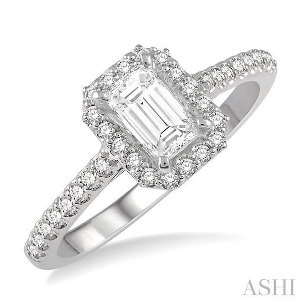 3/4 Ctw Octagonal Emerald Cut Diamond Ladies Engagement Ring with 1/2 Ct emerald Cut Center Stone in 14K White Gold Seita Jewelers Tarentum, PA