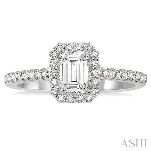 3/4 Ctw Octagonal Emerald Cut Diamond Ladies Engagement Ring with 1/2 Ct emerald Cut Center Stone in 14K White Gold Image 2 Seita Jewelers Tarentum, PA
