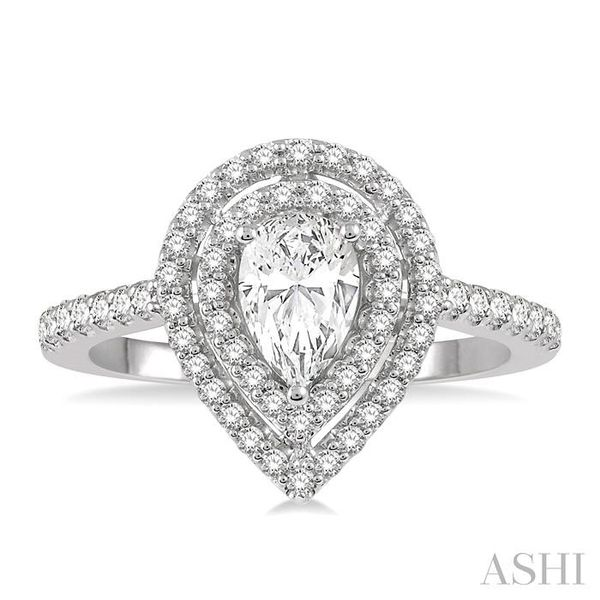 1/2 Ctw Pear Shape Engagement Ring with 1/4 Ct Pear Cut Center Stone in 14K White Gold Image 2 Seita Jewelers Tarentum, PA
