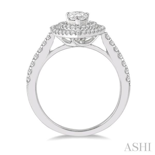 1/2 Ctw Pear Shape Engagement Ring with 1/4 Ct Pear Cut Center Stone in 14K White Gold Image 3 Seita Jewelers Tarentum, PA