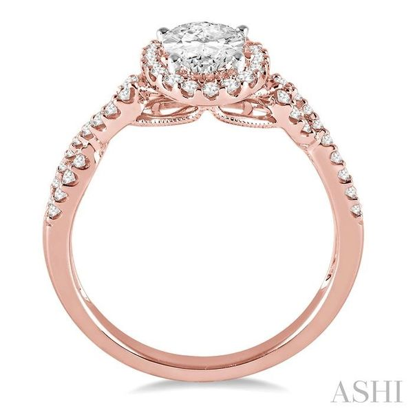 1/2 Ctw Oval Cut Diamond Ladies Engagement Ring with 1/3 Ct Oval Cut Center Stone in 14K Rose and White Gold Image 3 Seita Jewelers Tarentum, PA