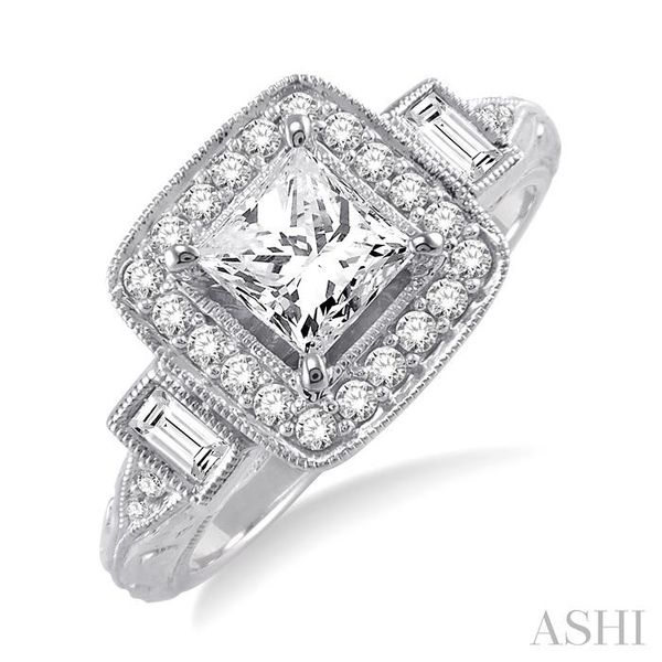 1 1/10 Ctw Diamond Engagement Ring with 3/4 Ct Princess Cut Center Stone in 14K White Gold Seita Jewelers Tarentum, PA