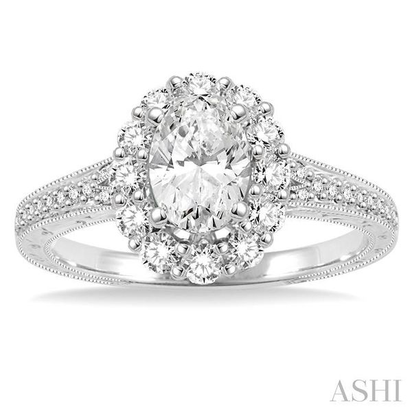 1 1/5 Ctw Diamond Engagement Ring with 5/8 Ct Oval Cut Center Stone in 14K White Gold Image 2 Seita Jewelers Tarentum, PA