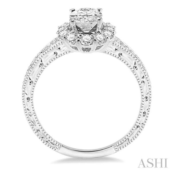 1 1/5 Ctw Diamond Engagement Ring with 5/8 Ct Oval Cut Center Stone in 14K White Gold Image 3 Seita Jewelers Tarentum, PA