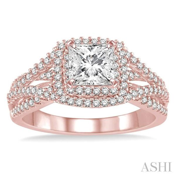 1 Ctw Diamond Engagement Ring with 1/3 Ct Princess Cut Center Stone in 14K Rose Gold Image 2 Seita Jewelers Tarentum, PA