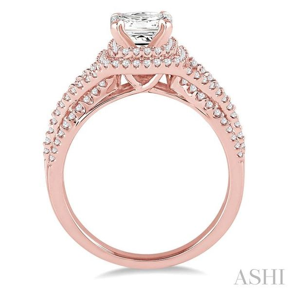 1 Ctw Diamond Engagement Ring with 1/3 Ct Princess Cut Center Stone in 14K Rose Gold Image 3 Seita Jewelers Tarentum, PA