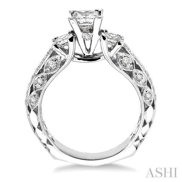 1 1/4 Ctw Diamond Engagement Ring with 1/2 Ct Princess Cut Center Stone in 14K White Gold Image 3 Seita Jewelers Tarentum, PA
