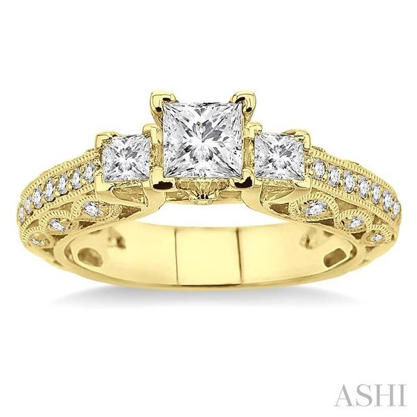 1 1/4 Ctw Diamond Engagement Ring with 1/2 Ct Princess Cut Center Stone in 14K Yellow Gold Image 2 Seita Jewelers Tarentum, PA