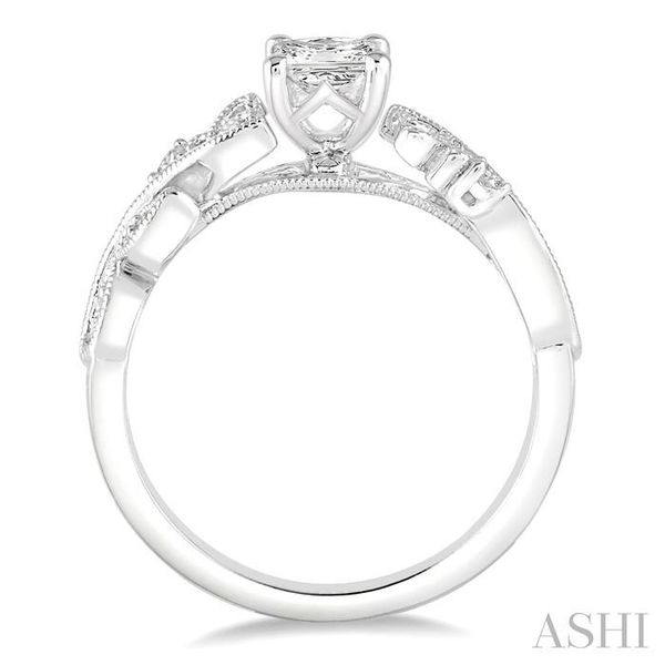 1/3 Ctw Diamond Engagement Ring with 1/5 Ct Princess Cut Center Stone in 14K White Gold Image 3 Seita Jewelers Tarentum, PA