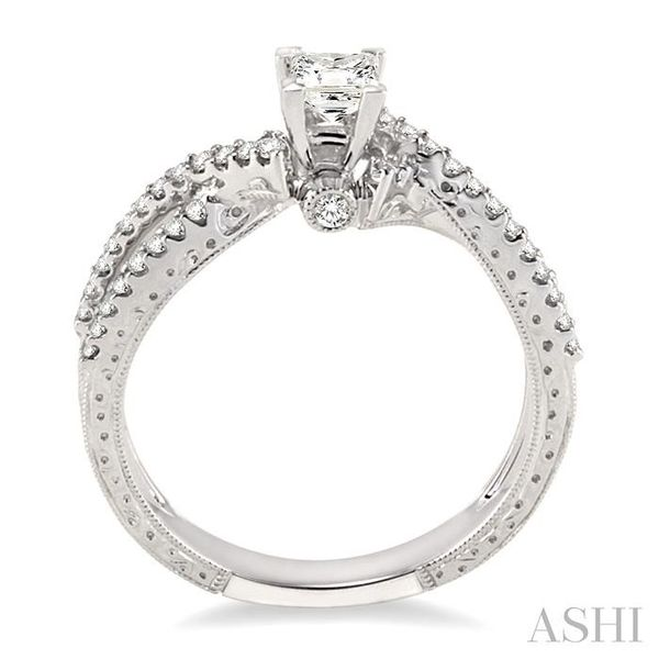 1/2 Ctw Diamond Engagement Ring with 1/4 Ct Princess Cut Center Stone in 14K White Gold Image 3 Seita Jewelers Tarentum, PA