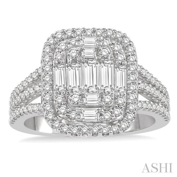1 1/4 Ctw Baguette & Round Cut Fusion Diamond Ring in 14K White Gold Image 2 Seita Jewelers Tarentum, PA