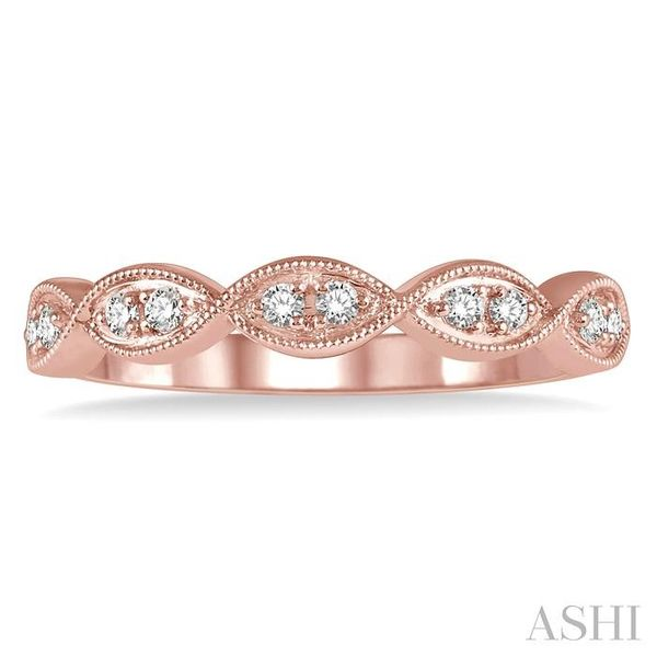 1/8 ctw Twisted Marquise Mount Round Cut Diamond Fashion Band in 14K Rose Gold Image 2 Seita Jewelers Tarentum, PA