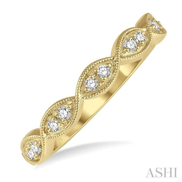 1/8 ctw Twisted Marquise Mount Round Cut Diamond Fashion Band in 14K Yellow Gold Seita Jewelers Tarentum, PA