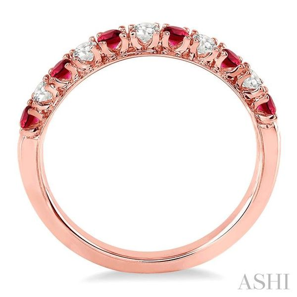 2.20 MM Round Cut Ruby and 1/5 Ctw Round Cut Diamond Band in 14K Rose Gold Image 3 Seita Jewelers Tarentum, PA