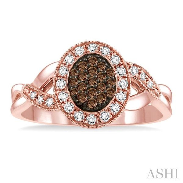 1/3 Ctw Round Cut White and Champagne Brown Diamond Ring in 10K Rose Gold Image 2 Seita Jewelers Tarentum, PA