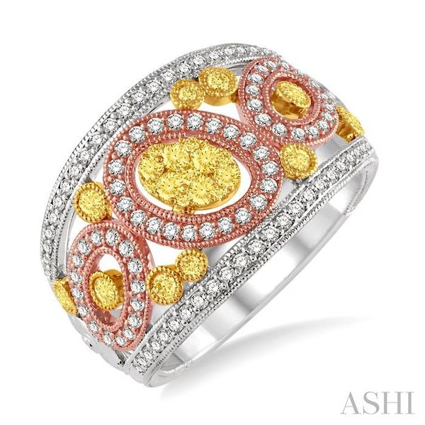 1 Ctw Round Cut Yellow and White Diamond Fashion Ring in 14K Tri Color Gold Seita Jewelers Tarentum, PA