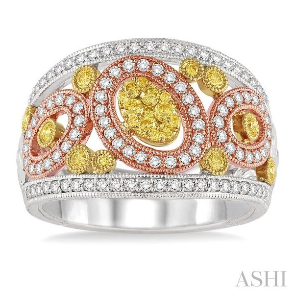 1 Ctw Round Cut Yellow and White Diamond Fashion Ring in 14K Tri Color Gold Image 2 Seita Jewelers Tarentum, PA