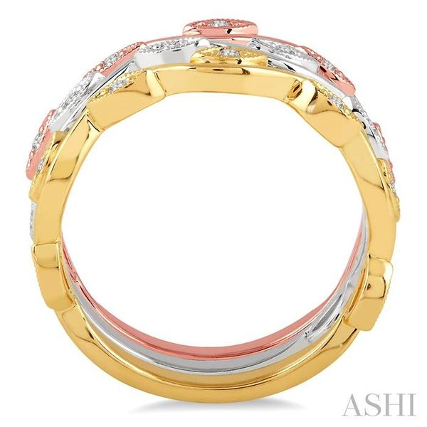 1/6 Ctw Marquise Shape Round Cut Diamond Triple Band Set in 14K Tri Color Gold Image 3 Seita Jewelers Tarentum, PA
