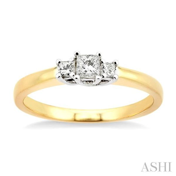1/4 Ctw 3 Stone Princess Cut Diamond Ring in 14K Yellow and White Gold Image 2 Seita Jewelers Tarentum, PA