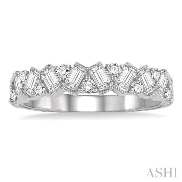 5/8 ctw Zigzag Baguette and Round Cut Diamond Ring in 14K White Gold Image 2 Seita Jewelers Tarentum, PA