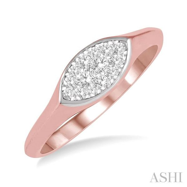 1/5 ctw Marquise Shape Lovebright Round Cut Diamond Ring in 14K Rose and White Gold Seita Jewelers Tarentum, PA