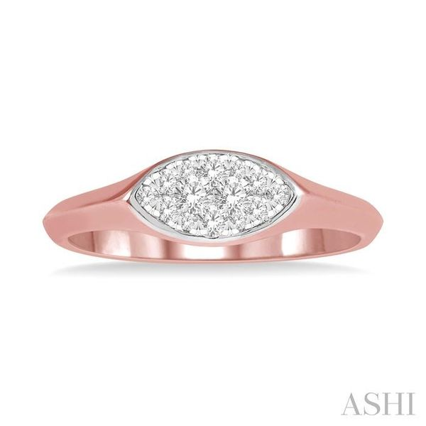 1/5 ctw Marquise Shape Lovebright Round Cut Diamond Ring in 14K Rose and White Gold Image 2 Seita Jewelers Tarentum, PA