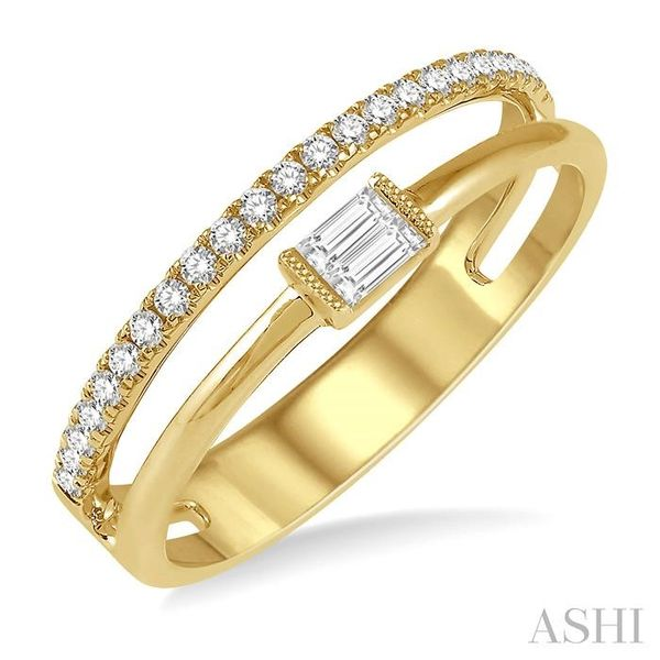 1/5 ctw Open Twin Top Baguette and Round Cut Diamond Fashion Ring in 14K Yellow Gold Seita Jewelers Tarentum, PA