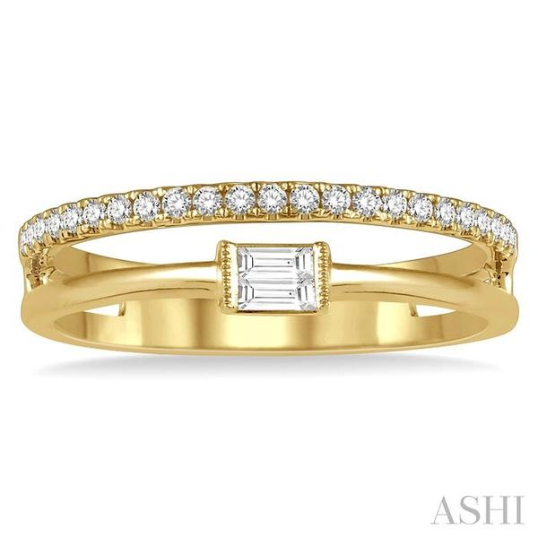1/5 ctw Open Twin Top Baguette and Round Cut Diamond Fashion Ring in 14K Yellow Gold Image 2 Seita Jewelers Tarentum, PA