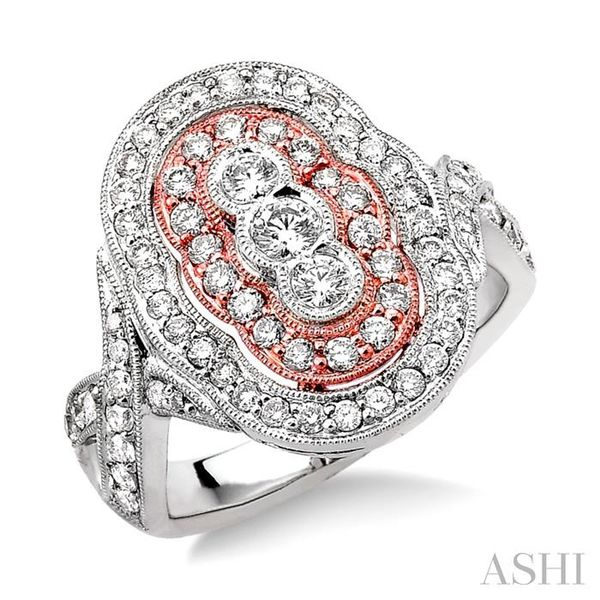 1 1/10 Ctw Round Cut Diamond Fashion Ring in 14K White and Rose Gold Seita Jewelers Tarentum, PA