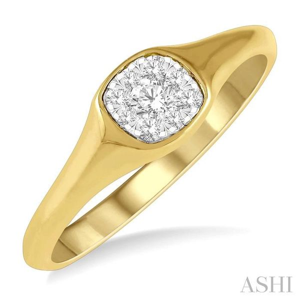 1/6 ctw Cushion Shape Lovebright Diamond Ring in 14K Yellow and White Gold Seita Jewelers Tarentum, PA