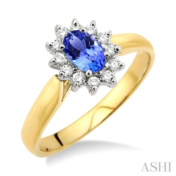 6x4MM Oval Cut Tanzanite and 1/5 Ctw Round Cut Diamond Ring in 14K Yellow Gold Seita Jewelers Tarentum, PA