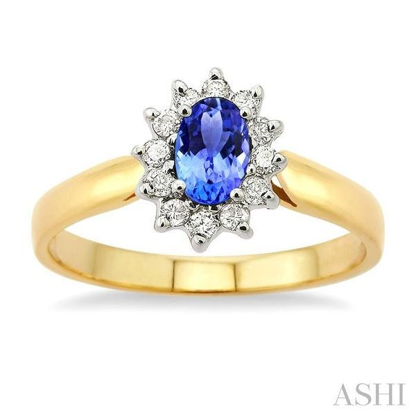 6x4MM Oval Cut Tanzanite and 1/5 Ctw Round Cut Diamond Ring in 14K Yellow Gold Image 2 Seita Jewelers Tarentum, PA