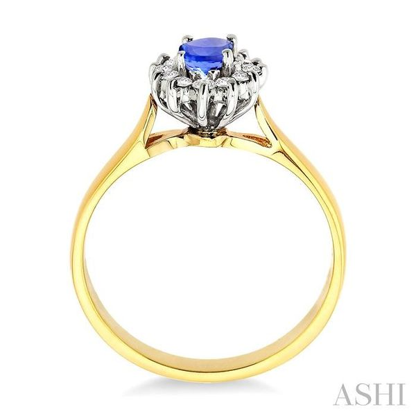 6x4MM Oval Cut Tanzanite and 1/5 Ctw Round Cut Diamond Ring in 14K Yellow Gold Image 3 Seita Jewelers Tarentum, PA