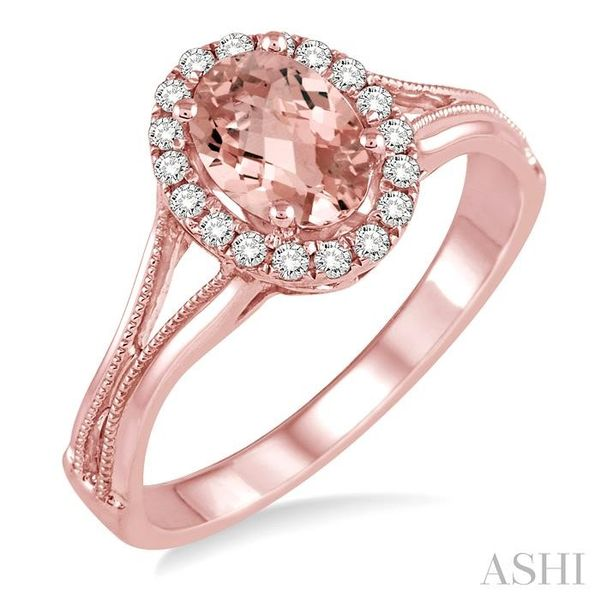 7x5 MM Oval Shape Morganite and 1/6 Ctw Round Cut Diamond Ring in 14K Rose Gold Seita Jewelers Tarentum, PA