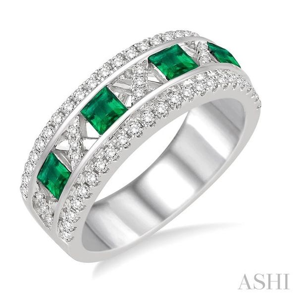 3x3 MM Princess Cut Emerald and 3/8 Ctw Round Cut Diamond Ring in 14K White Gold Seita Jewelers Tarentum, PA