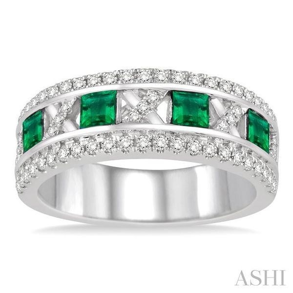 3x3 MM Princess Cut Emerald and 3/8 Ctw Round Cut Diamond Ring in 14K White Gold Image 2 Seita Jewelers Tarentum, PA