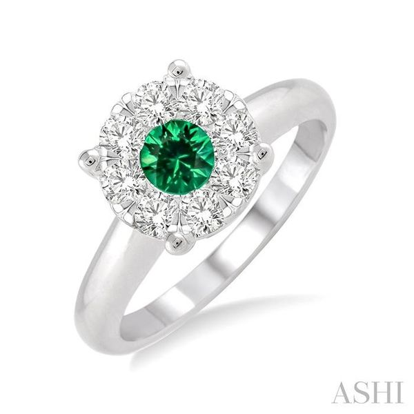 3.8 MM Round Cut Emerald and 1/3 Ctw Lovebright Diamond Ring in 14K White Gold Seita Jewelers Tarentum, PA