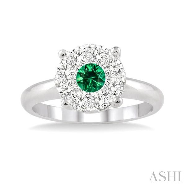 3.8 MM Round Cut Emerald and 1/3 Ctw Lovebright Diamond Ring in 14K White Gold Image 2 Seita Jewelers Tarentum, PA