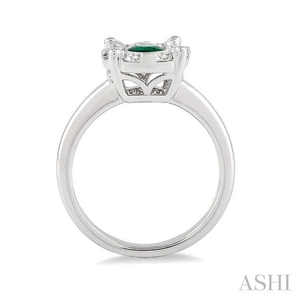 3.8 MM Round Cut Emerald and 1/3 Ctw Lovebright Diamond Ring in 14K White Gold Image 3 Seita Jewelers Tarentum, PA
