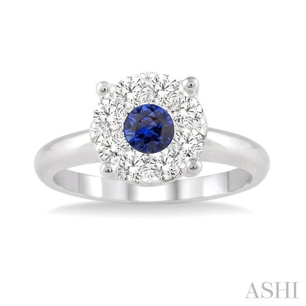 3.8 MM Round Cut Sapphire and 1/3 Ctw Lovebright Diamond Ring in 14K White Gold Image 2 Seita Jewelers Tarentum, PA