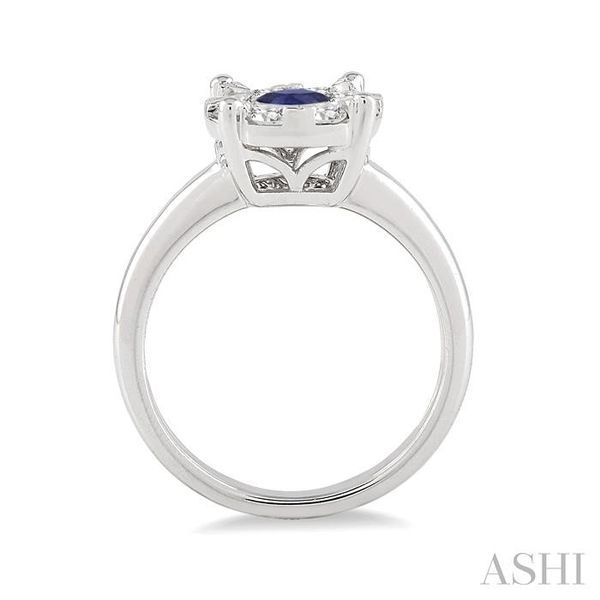 3.8 MM Round Cut Sapphire and 1/3 Ctw Lovebright Diamond Ring in 14K White Gold Image 3 Seita Jewelers Tarentum, PA