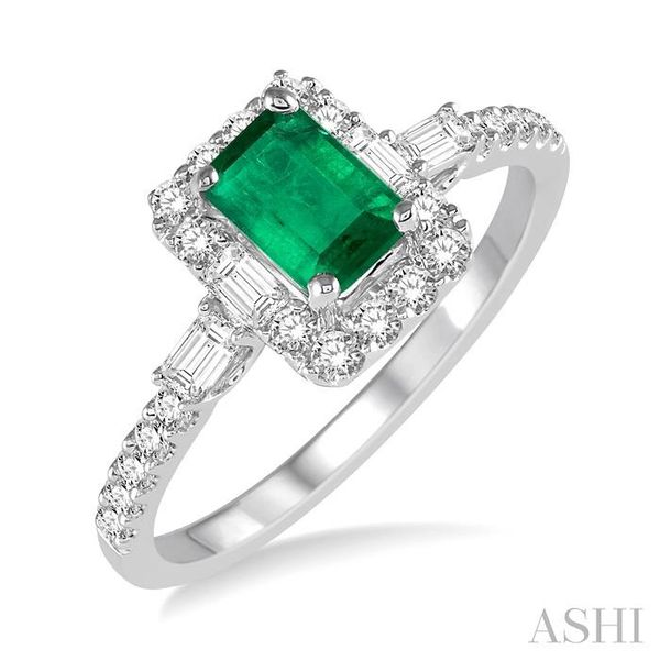 6x4 MM Octagon Cut Emerald and 1/2 Ctw Round Cut Diamond Ring in 14K White Gold Seita Jewelers Tarentum, PA