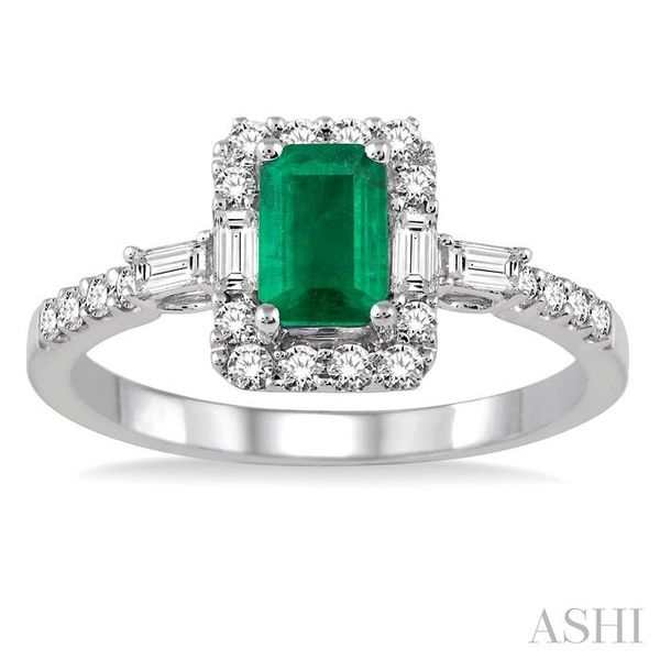 6x4 MM Octagon Cut Emerald and 1/2 Ctw Round Cut Diamond Ring in 14K White Gold Image 2 Seita Jewelers Tarentum, PA