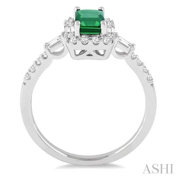 6x4 MM Octagon Cut Emerald and 1/2 Ctw Round Cut Diamond Ring in 14K White Gold Image 3 Seita Jewelers Tarentum, PA