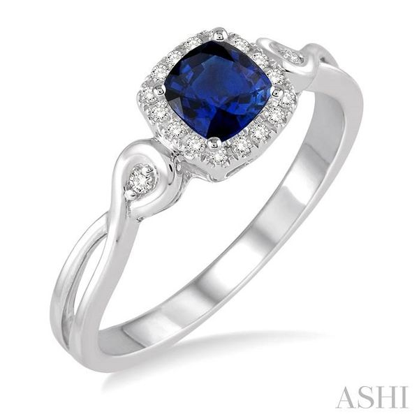 4x4 MM Cushion Cut Sapphire and 1/10 Ctw Round Cut Diamond Ring in 14K White Gold Seita Jewelers Tarentum, PA