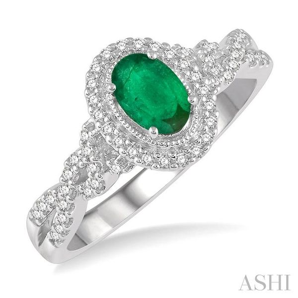 1/5 ctw Oval Shape 6x4mm Emerald & Round Cut Diamond Precious Ring in 10K White Gold Seita Jewelers Tarentum, PA