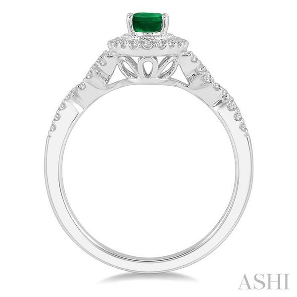 1/5 ctw Oval Shape 6x4mm Emerald & Round Cut Diamond Precious Ring in 10K White Gold Image 3 Seita Jewelers Tarentum, PA