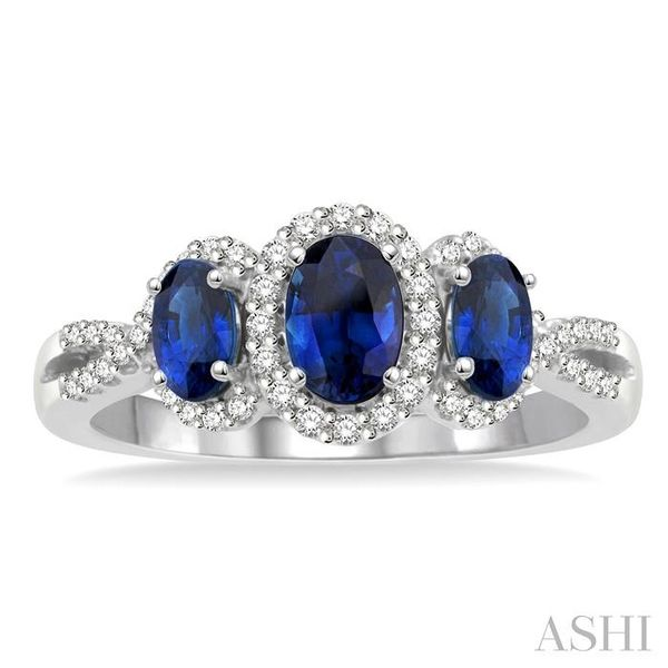 6X4&5X3MM Oval Shape Triple Sapphire Precious Stone and 1/4 Ctw Round Cut Diamond Ring in 14K White Gold Image 2 Seita Jewelers Tarentum, PA