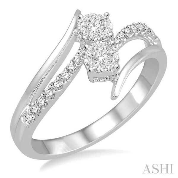 1/4 Ctw Curved Split Shank Diamond Lovebright 2Stone Ring in 14K White Gold Seita Jewelers Tarentum, PA